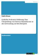 Cedric Braun: Gedichte bedeuten Erfahrung. Eine Überprüfung von Deweys Kunsttheorie in der Anwendung auf drei Beispiele