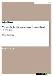 Vergleich der Steuersysteme Deutschland - Schweiz - Steuerbelastung