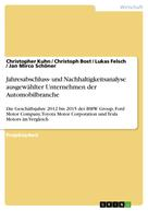 Christopher Kuhn: Jahresabschluss- und Nachhaltigkeitsanalyse ausgewählter Unternehmen der Automobilbranche