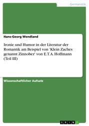 Ironie und Humor in der Literatur der Romantik am Beispiel von 'Klein Zaches genannt Zinnober' von E. T. A. Hoffmann (Teil III)
