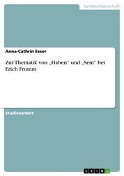 """Zur Thematik von """"Haben"""" und """"Sein"""" bei Erich Fromm"""