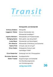 Transit 36. Europäische Revue - Klimapolitik und Solidarität