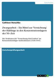 """Zwangsarbeit – Ein Mittel zur 'Vernichtung' der Häftlinge in den Konzentrationslagern der NS–Zeit - Die Strukturen der """"Vernichtung durch Arbeit"""" im Konzentrationslager Sachsenhausen (1936-1945)"""