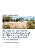 Martin Andreas Walser: Ausblick auf ein Plateau, an dessen äussertem Rand drei Bäume, eine Sitzbank und ein ehemaliger Stall stehen könnten