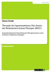 Therapie bei Agrammatismus: Der Ansatz der Reduzierten-Syntax-Therapie (REST) - Zusammenfassende Darstellung des Therapieansatzes nach Schlenck, Schlenck & Springer