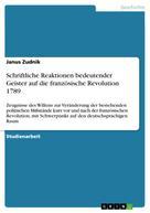 Janus Zudnik: Schriftliche Reaktionen bedeutender Geister auf die französische Revolution 1789