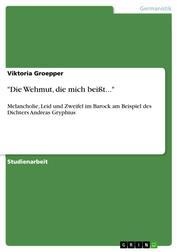 """""""Die Wehmut, die mich beißt..."""" - Melancholie, Leid und Zweifel im Barock am Beispiel des Dichters Andreas Gryphius"""