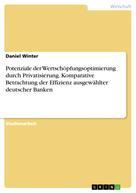 Daniel Winter: Potenziale der Wertschöpfungsoptimierung durch Privatisierung. Komparative Betrachtung der Effizienz ausgewählter deutscher Banken
