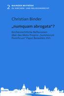 """Christian Binder: """"numquam abrogata""""?"""