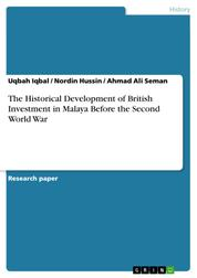 The Historical Development of British Investment in Malaya Before the Second World War