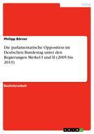 Philipp Börner: Die parlamentarische Opposition im Deutschen Bundestag unter den Regierungen Merkel I und II (2005 bis 2013)