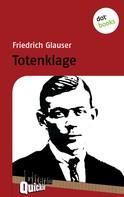 Friedrich Glauser: Totenklage - Literatur-Quickie ★