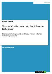 """Mozarts """"Così fan tutte oder Die Schule der Liebenden"""" - Literarische Vorlagen und das Thema """"Treueprobe"""" im Aufklärungskontext"""