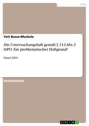 Die Untersuchungshaft gemäß § 112 Abs.3 StPO. Ein problematischer Haftgrund? - Stand 2003