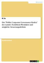 """Der """"Public Corporate Governance Kodex"""" des Landes Nordrhein-Westfalen und mögliche Steuerungsdefizite"""