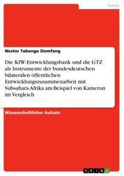 Die KfW-Entwicklungsbank und die GTZ als Instrumente der bundesdeutschen bilateralen öffentlichen Entwicklungszusammenarbeit mit Subsahara-Afrika am Beispiel von Kamerun im Vergleich