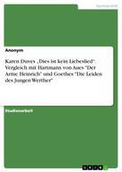 """: Karen Duves """"Dies ist kein Liebeslied"""". Vergleich mit Hartmann von Aues """"Der Arme Heinrich"""" und Goethes """"Die Leiden des Jungen Werther"""""""
