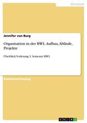 Organisation in der BWL. Aufbau, Abläufe, Projekte - Überblick Vorlesung 3. Semester BWL