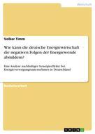 Volker Timm: Wie kann die deutsche Energiewirtschaft die negativen Folgen der Energiewende abmildern?