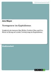 Normgenese im Kapitalismus - Vergleich der Autoren Max Weber, Norbert Elias und Eva Illouz in Bezug auf soziale Normierung im Kapitalismus