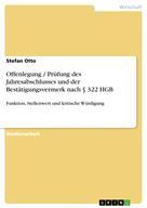 Stefan Otto: Offenlegung / Prüfung des Jahresabschlusses und der Bestätigungsvermerk nach § 322 HGB