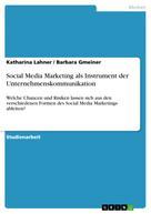 Katharina Lahner: Social Media Marketing als Instrument der Unternehmenskommunikation