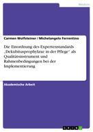 """Carmen Wolfsteiner: Die Einordnung des Expertenstandards """"Dekubitusprophylaxe in der Pflege"""" als Qualitätsinstrument und Rahmenbedingungen bei der Implementierung"""