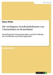 Die wichtigsten Gesellschaftsformen von Unternehmen in Deutschland - Darstellung ihrer Vertretungsorgane und ihrer Haftung der Gesellschaft und Dritten gegenüber