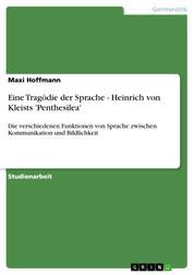 Eine Tragödie der Sprache - Heinrich von Kleists 'Penthesilea' - Die verschiedenen Funktionen von Sprache zwischen Kommunikation und Bildlichkeit