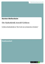 """Die Kulturkritik Arnold Gehlens - Gehlens Kulturkritik in """"Die Seele im technischen Zeitalter"""""""