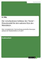 """H. Filla: Die verschiedenen Schlüsse des """"Iwein"""" - Präzedenzfall für den unfesten Text des Mittelalters"""
