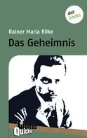 Rainer Maria Rilke: Das Geheimnis - Literatur-Quickie