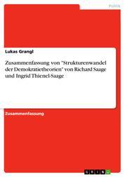 """Zusammenfassung von """"Strukturenwandel der Demokratietheorien"""" von Richard Saage und Ingrid Thienel-Saage"""