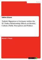 Sabine Klasen: Turkish Migration to Germany within the EU-Turkey Relationship. Effects on Identity, Culture, Public Perception and Politics