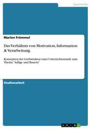 """Das Verhältnis von Motivation, Information & Verarbeitung - Konzeption der Grobstruktur einer Unterrichtsstunde zum Thema """"Adlige und Bauern"""""""