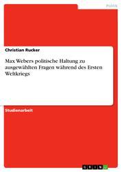 Max Webers politische Haltung zu ausgewählten Fragen während des Ersten Weltkriegs