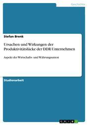 Ursachen und Wirkungen der Produktivitätslücke der DDR Unternehmen - Aspekt der Wirtschafts- und Währungsunion